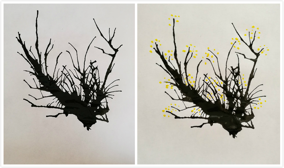 墨水树瞬间开出了鹅黄色的花朵,仔细闻闻,仿佛还能闻到梅花的清香.