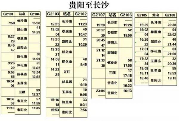 最新最全的沪昆高铁时刻表