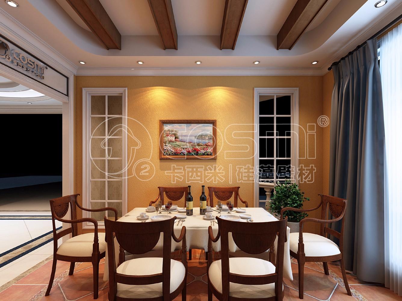硅藻泥弹涂工艺使墙面有凹凸有致的触觉感受,搭配原始的土黄色,将美式图片