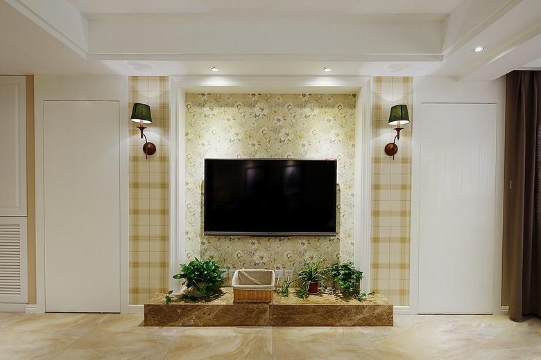 小美风~加州阳光是简美风格电视墙效果图,是由成都人和雅风装饰公司提供