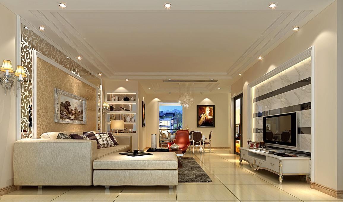 簡約歐式客廳裝修效果圖:簡歐客廳盡顯華麗浪漫