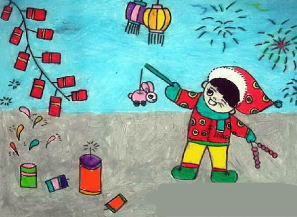 小学生年画作品(图片来自网络)