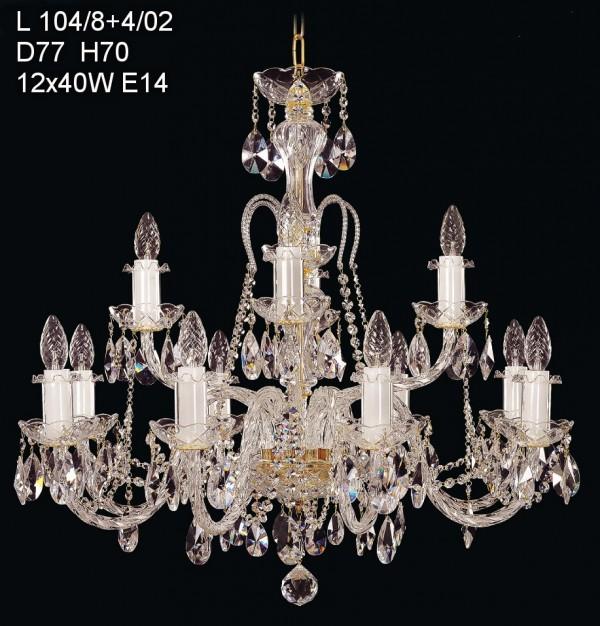■ 8+4头,直径77厘米,高度70厘米。同一款灯具,在灯数上有所增加,款型稍有变化,为双层12头吊灯。高度有所增加,安装时注意空间高度。  L104系列,单层12头,直径78厘米,高度57厘米。款式较为简约,没有上一款复杂。  L104系列,最大款。16头,直径105厘米,高度100厘米。