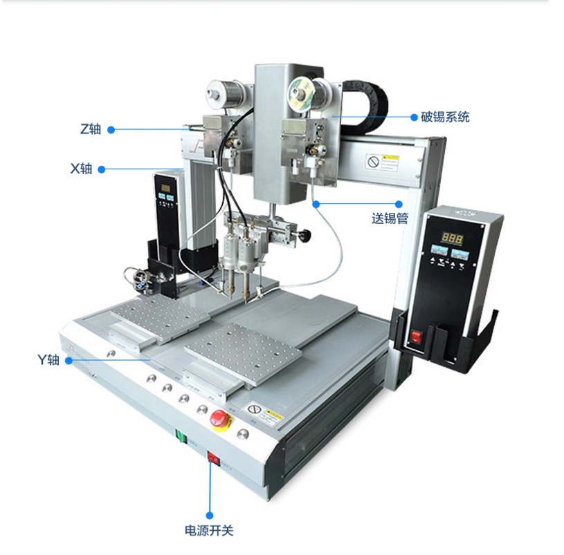 双头单平台自动焊锡机的示意图