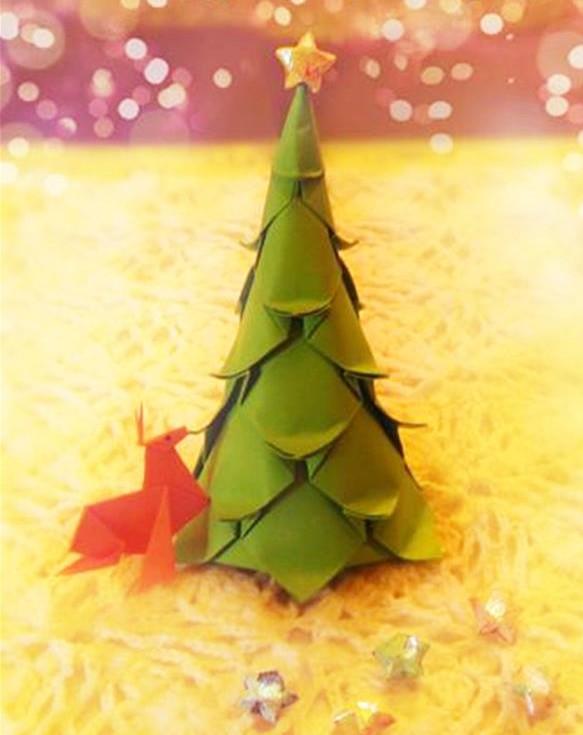 精美的圣诞树折纸—圣诞树折法详细图解diy