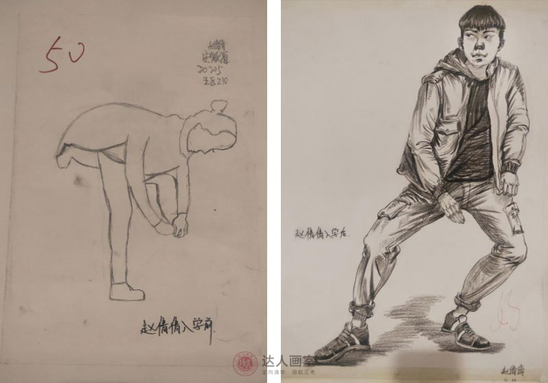 达人画室赵同学入学前后的速写作品对比.jpg