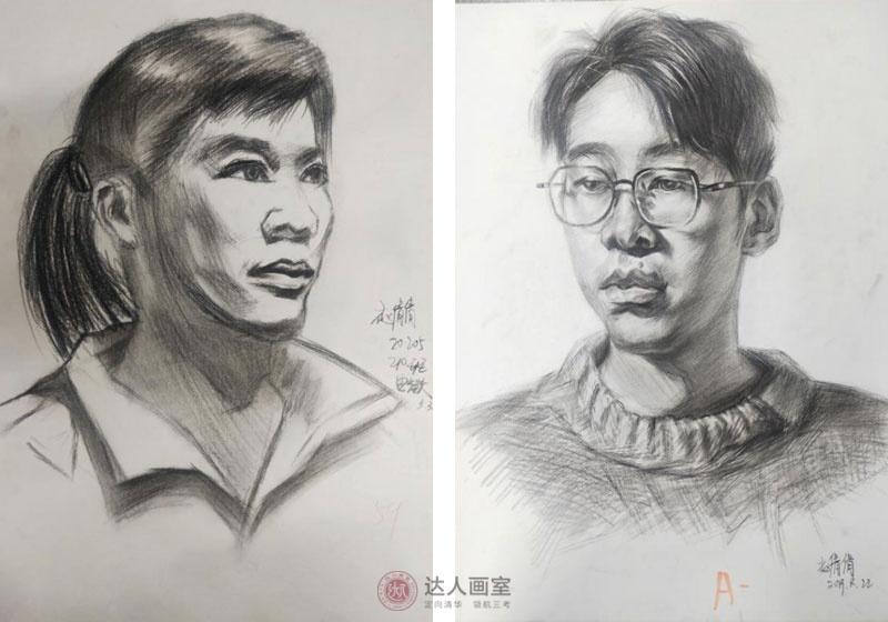 达人画室赵同学入学前后的素描作品对比.jpg
