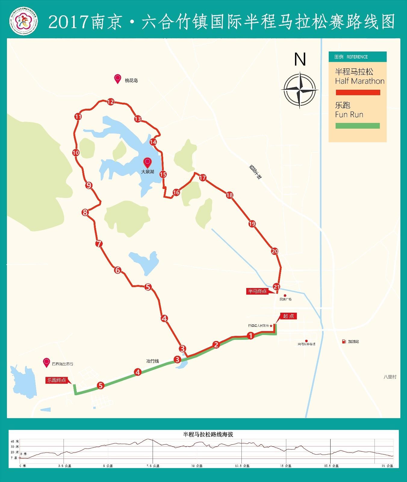 2017南京六合竹镇国际半程马拉松路线图