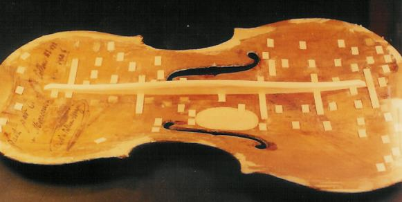 Tulsa Violin Repair - Bass Bar Replacement Soundpost Patch Tulsa, OK Collin Mezin Violin.JPG