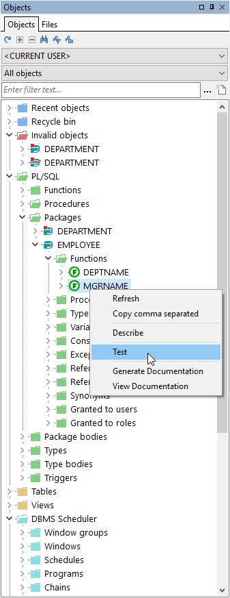 PL / SQL Developer _files comparison_Files Comparison Database