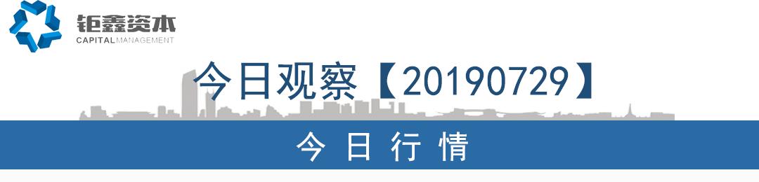 【钜鑫资本】20190729今日观察