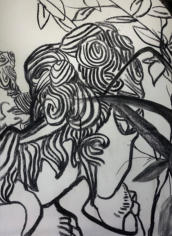 《石狮子臆象》,107×78cm,纸本炭条,2019,韦青作.jpg