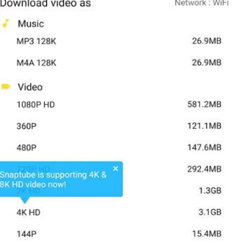 Snaptube 强大YouTube、Facebook、Vimeo 等视频、音乐离线下载App(Android)