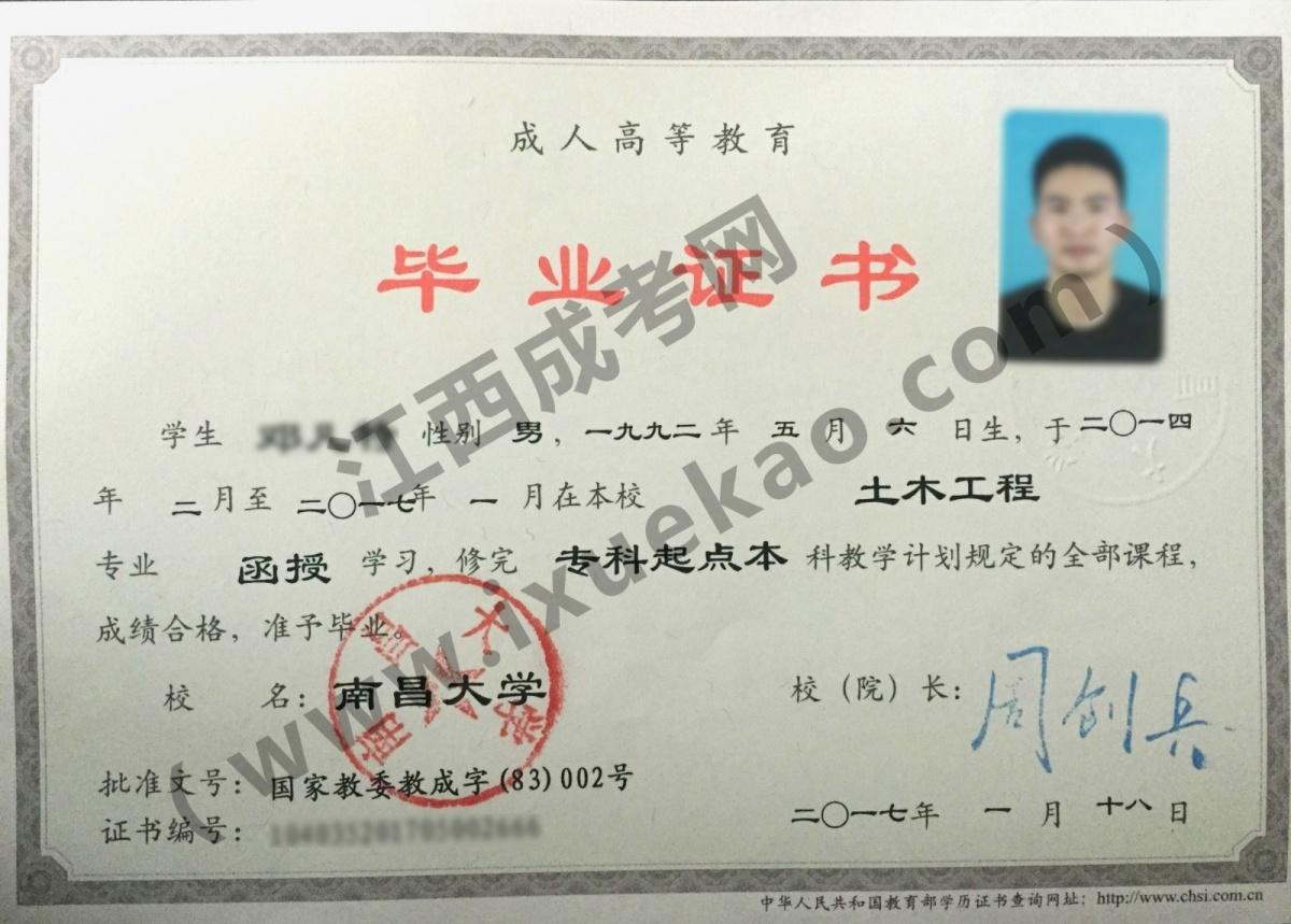 南昌大學成人高考畢業證書