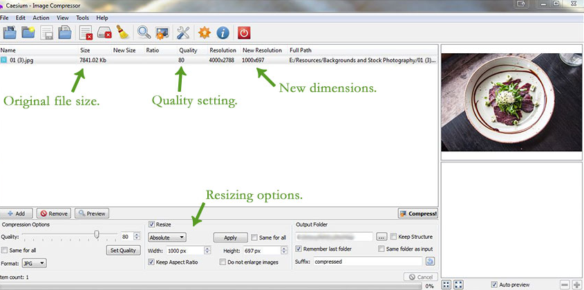 Caesium图片压缩器V1.7汉化版下载 预览压缩多张图片