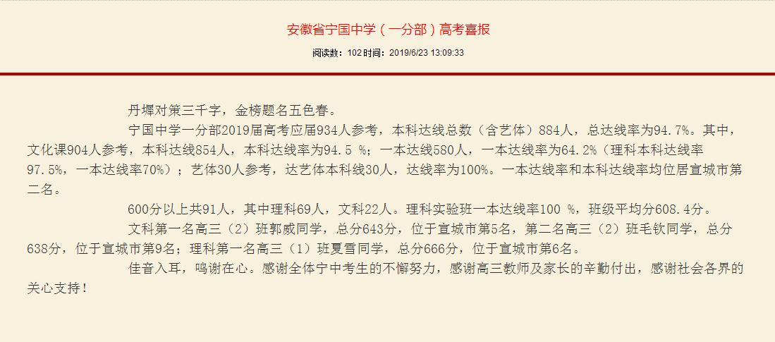 安徽省宁国中学(一分部)高考喜报?。?!