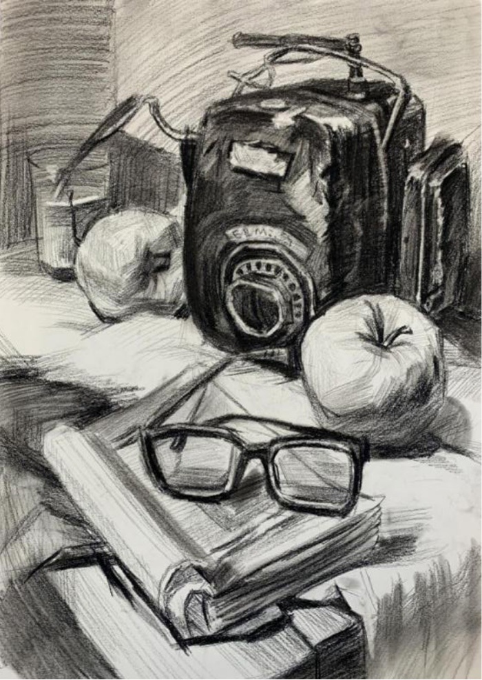 魏同学入学达人画室之前的素描作品