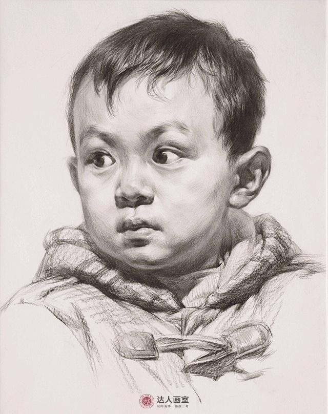 幼儿素描头像绘画
