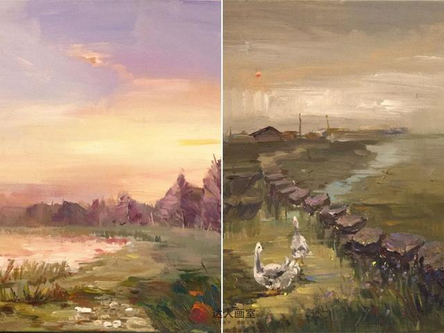 野三坡写生小溪与鹅色彩写生作品