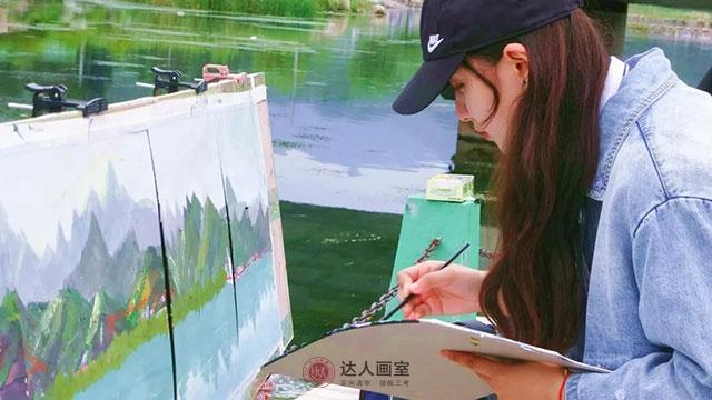 美术女生色彩作品创作