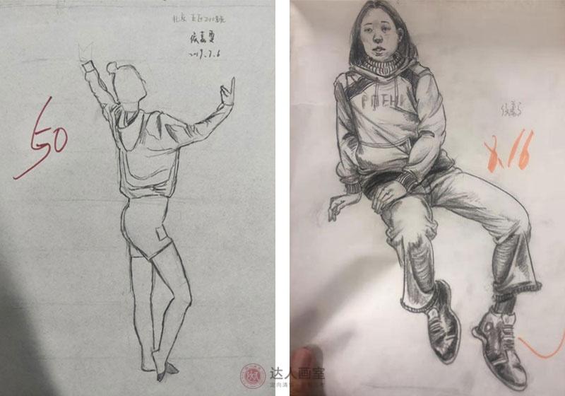 侯同学入学达人画室综合设计班速写作品