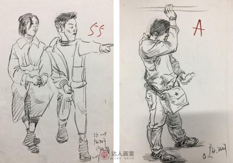 陈同学入学达人画室综合设计班速写作品