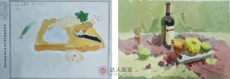 侯同学入学达人画室综合设计班色彩作品